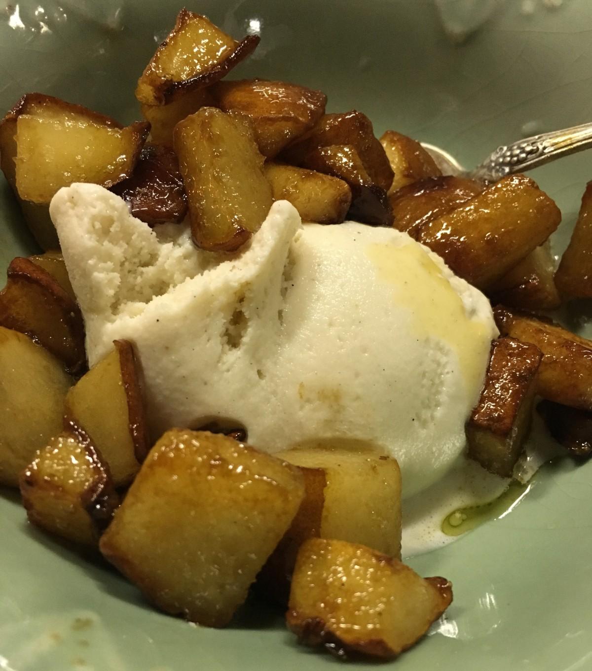 Caramelized Bosc pears with vanilla gelato.