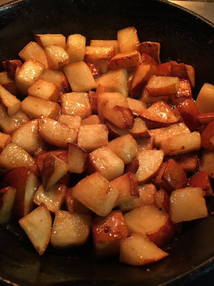 Caramelizing pears in my favorite cast iron skillet.
