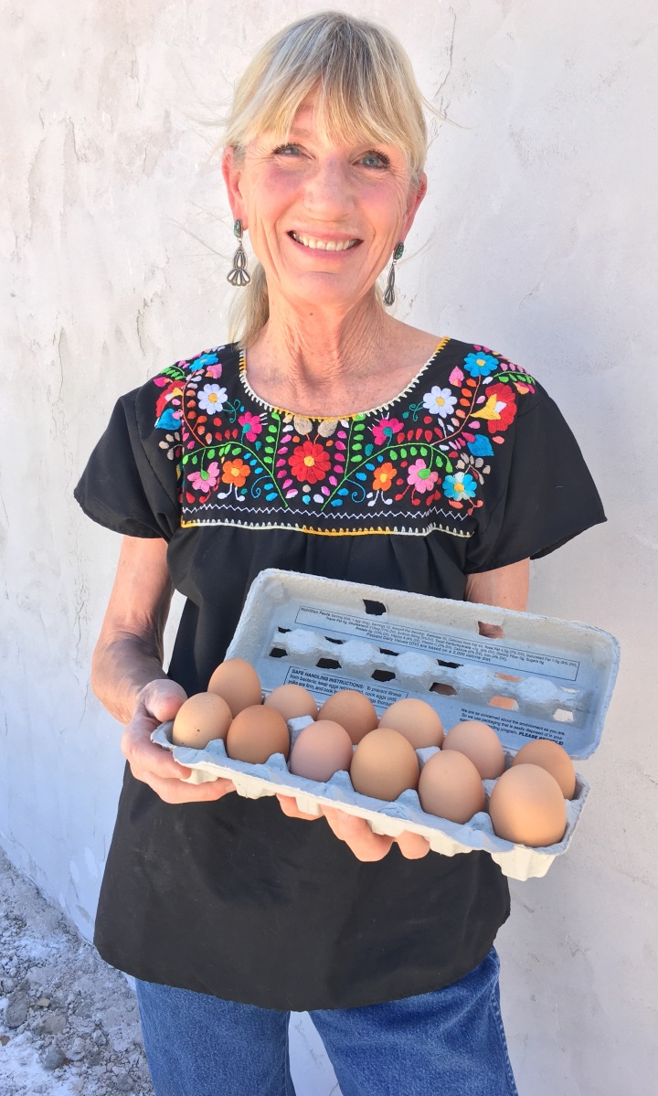 Jill Miller and one dozen of her eggs