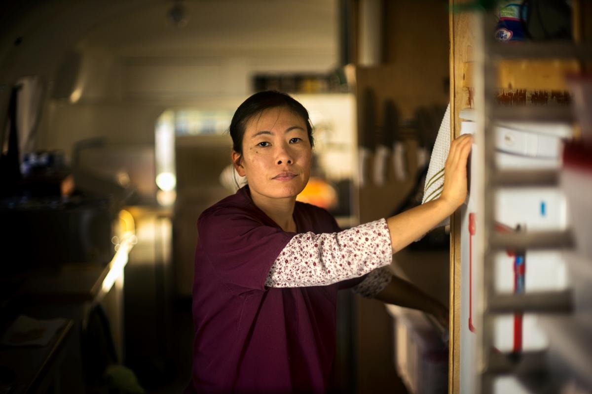 Seiko Riley inside her kitchen