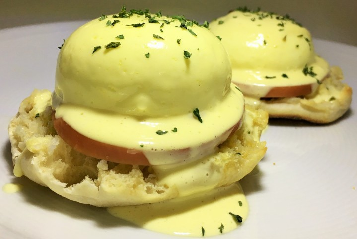 Eggs Benedict at home.