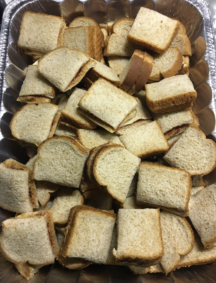 My tray of PB&Js for the cyclists. A chef knife makes all the difference.