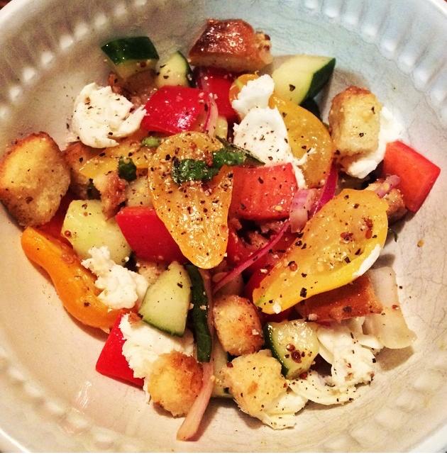 Panzanella with my homegrown veggies.