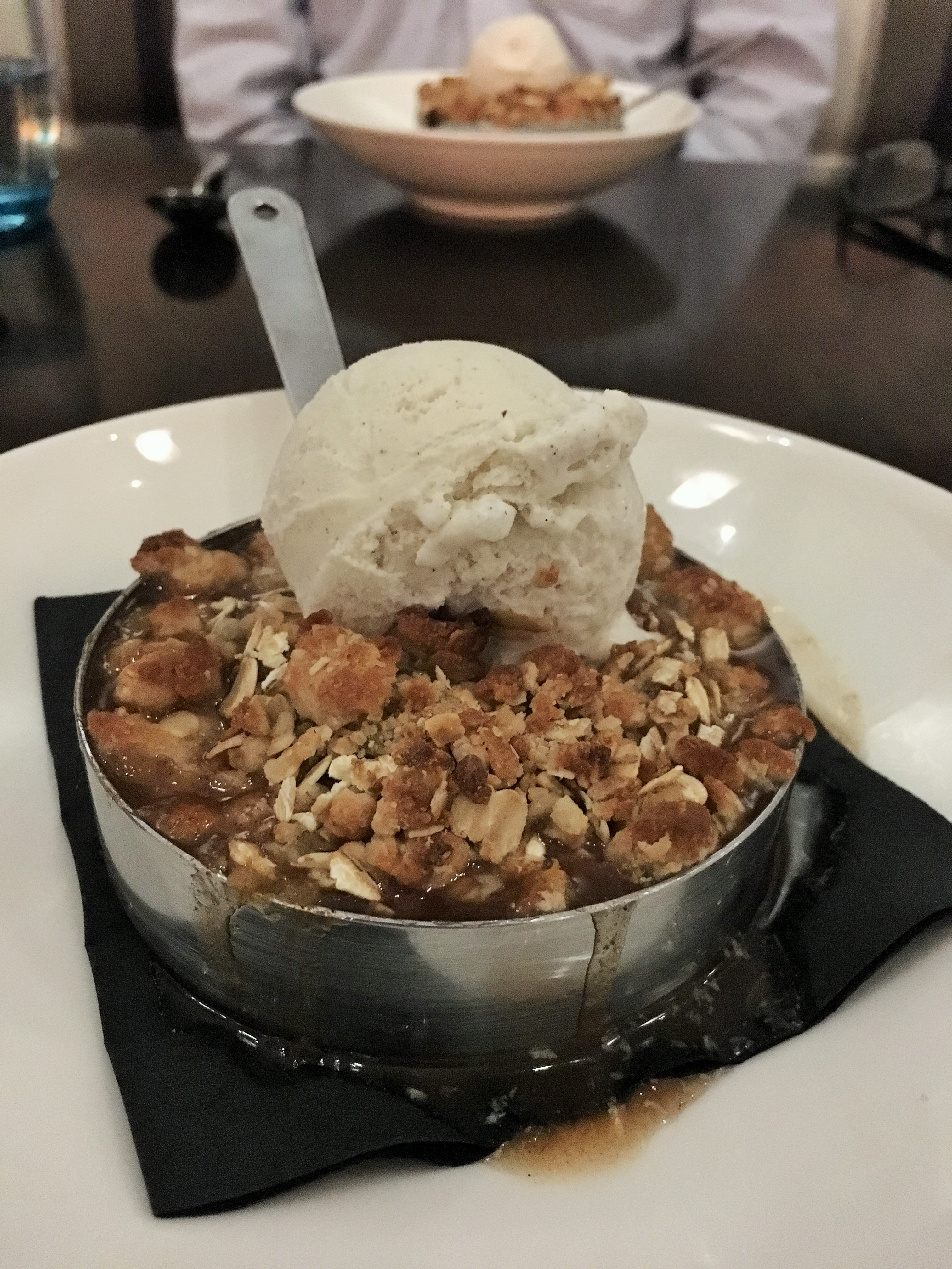 Seasonal Crisp of the Day... blueberry apple deliciousness topped with creamy vanilla ice cream.