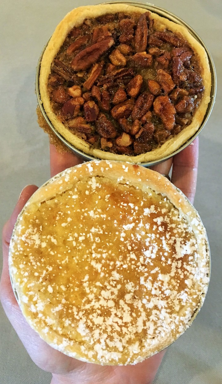 Lemon chess pie and pecan pie in handy portions.