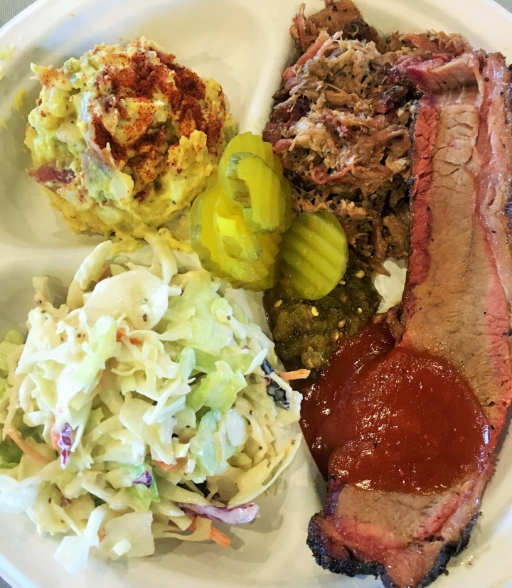 My plate of barbecue with brisket, pulled pork, coleslaw and potato salad.