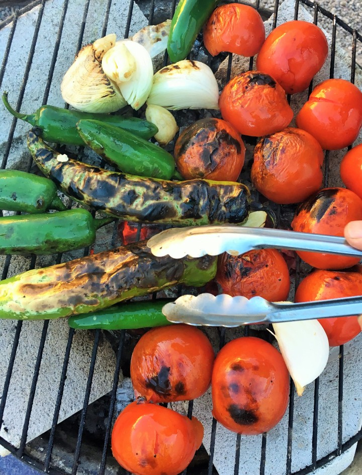 Roasting the veggies for our salsa.
