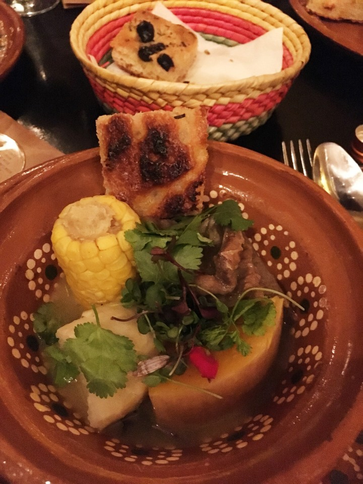 Cazuela Chilena and homemade bread - a traditional Chilean comfort food.