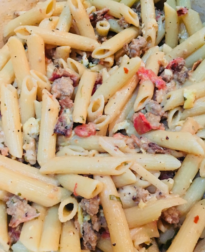 a big pot of mom's pasta carbonara came together with little effort.