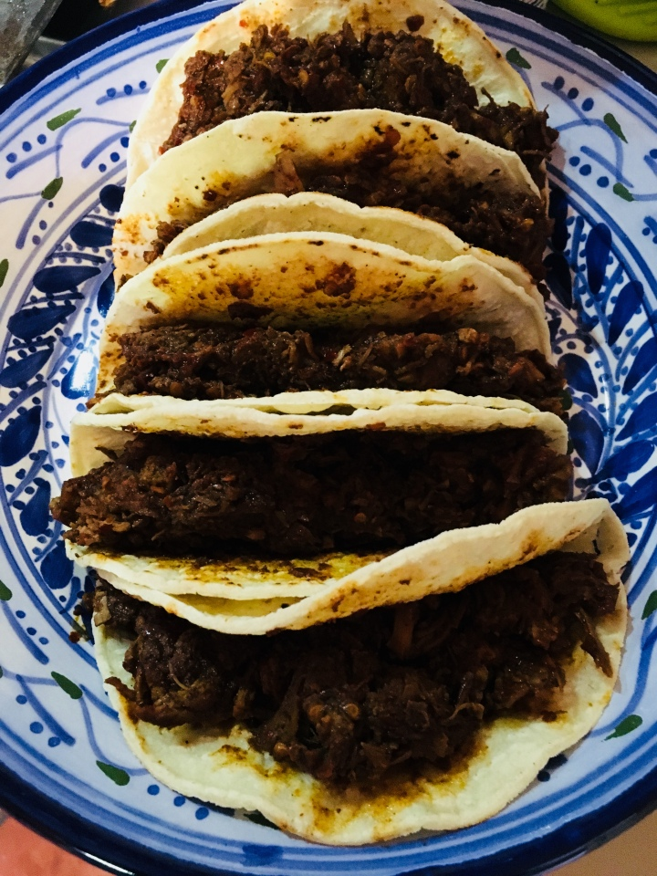 My Carne Adovado tacos, with just meat and tortillas.