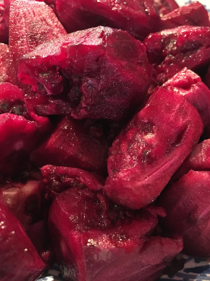 Peeled prickly pear fruit, ready for juicing to remove the seeds.