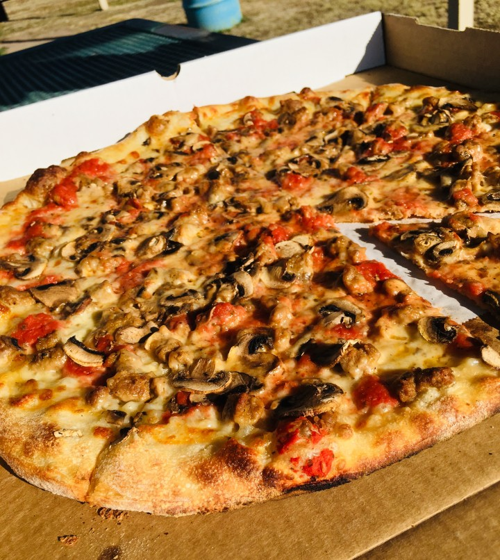 It was hard to get a picture before digging in to our delicious Pizza Foundation pizza. We ate the whole thing, sitting in the sunshine at a Marfa park.